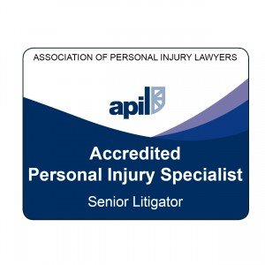 Picture of The APIL Senior Litigator logo. Only personal injury solicitors of Senior Litigator status may use it.