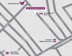 Contact us, Donoghue Solicitors, at 25 Hatton Garden Liverpool, L3 2FE. Directions here.