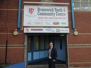 Photo of Kevin Donoghue, solicitor, giving back at Brunswick Youth and Community Centre., Bootle.