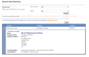 Screenshot of Daniel Fitzsimmons, FCILEx listing on CILEx's website.