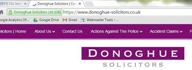 Photo of google chrome browser showing that Donoghue Solicitors uses https websites.