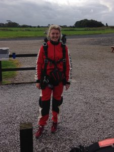 Photo of a relieved Hannah Bickley after her parachute jump.