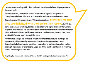 Testimonial from Tony Murphy, solicitor, about client referrals from other solicitors
